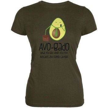 PEAPGQ9 Avocado Abogado Lawyer Funny Spanish Pun Juniors Soft T Shirt