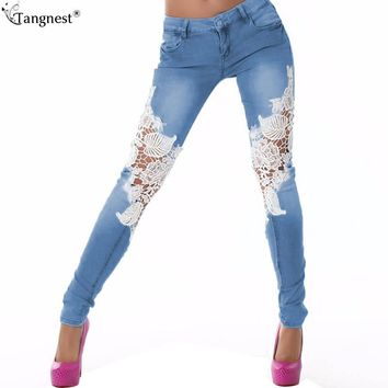TANGNEST Lace Crochet Skinny Jeans Floral Splice 2017 Mid Waist Casual Women Denim Pencil Pants Boyfriend Slim Trousers WKN473