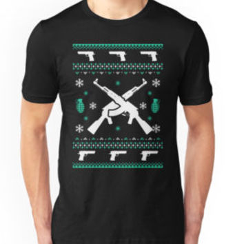 'Assault Rifle Ugly Christmas' T-Shirt by teelover91