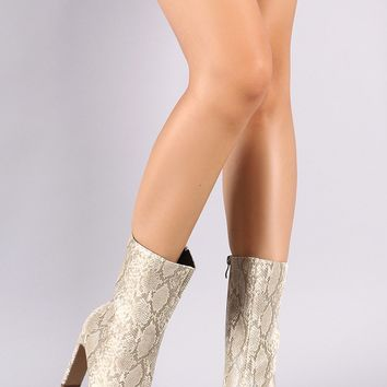 Snake Embossed Square Toe Rectangle Heel Mid Calf Boots