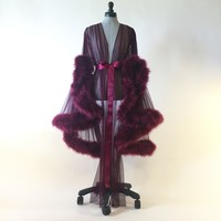 """Cassie"" Marabou Sheer Dressing Gown"