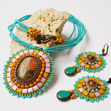 Bead Embroidery Necklace.Bead Embroidery Earrings.Bead Embroidery set.Unique handmade jewelry. OOAK.