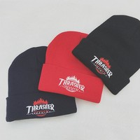 Thrasher Flame Embroidery Beanies Knit Hat Warm Hat