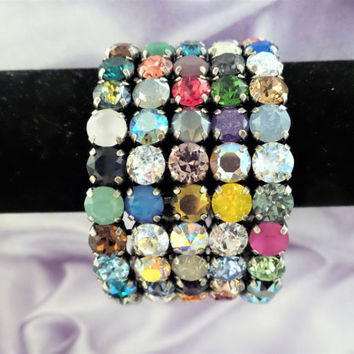 Sparkle In Color, Swarovski Crystal Five Row Stretch Bracelet, Multi Color, Closed Stretch Bangle,, DKSJewelrydesigns