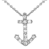 Sterling Silver Cubic Zirconia Mini Anchor Necklace