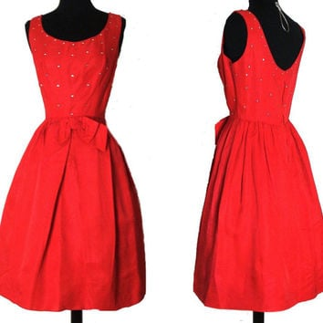 Vintage 50s 1950s Full Circle Skirt Red Rhinestone Dress Femme Fatale Couture Garden Party Mad Man Prom Pinup Rockabilly Ballerina Cupcake