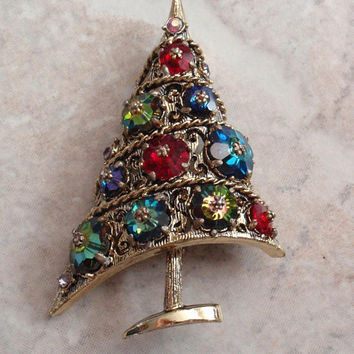 Weiss Christmas Tree Brooch Margarita Rhinestones Prong Set Off Center Tilted Book Piece Vintage 082214RV