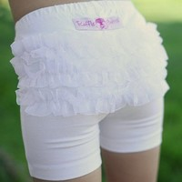 RuffleButts Toddler Girl White Knit Ruffle Under Dress Shorts $19.00