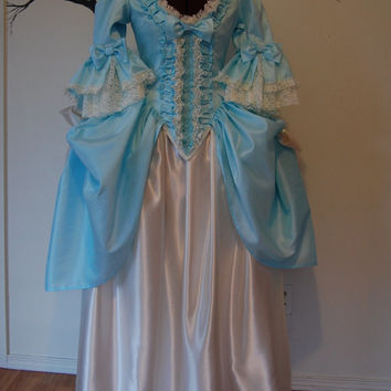 Pale teal and cream satin  Marie Antoinette Victorian inspired rococo costume dress
