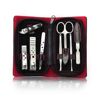 ALICE Manicure / Pedicure Kit, 8 PCS Manicure Set, Leather Grooming Kit