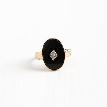 Vintage 14k Rold Gold Plated Onyx & Rhinestone Ring - 1940s Uncas Size 5 Oval Black Gem Art Deco Era Jewelry