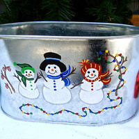 Hand Painted Christmas Planter With A Jolly Snowman Family