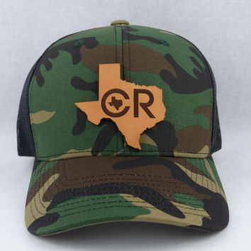 CR Texas Leather Tag Camo Mesh Hat