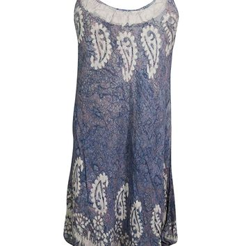 Mogul Interior Flora Women Beach Tank Dress Batik Loose Sleeveless Cover up Sundress S