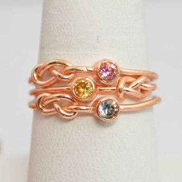 Grab 3 14k Rose Gold Filled Infinity Ring, Rose Gold Filled Ring , Stackable Rings, Mothers Ring, Birthstone, Rose Gold, Rose Gold Knot Ring