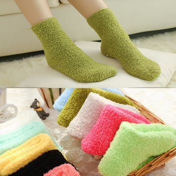 1 Pair Candy Color Solid Soft Women Fluffy Socks Coral Velvet Winter Warm Home Indoor Floor Ladies Terry Towel Fuzzy Socks