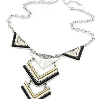 Color Block Beaded Triangle Statement Long Necklace