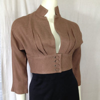 Vintage 1950s cropped bolero buttons Mandarin collar low cut Brown