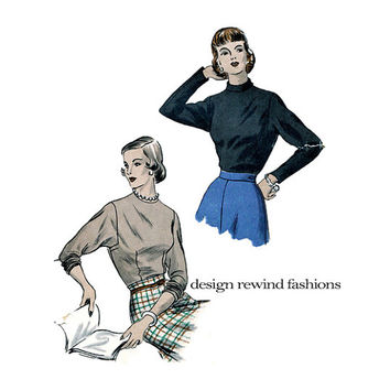 1940s  Vogue 6514 BLOUSE PATTERN Top Shirt Pattern Dolman Sleeves Band Collar Long Sleeves Fitted Blouse Womens Sewing Pattern Bust 34