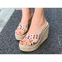 New Slope heel hemp rope sandals, high heels, waterproof platform, water drill shoes