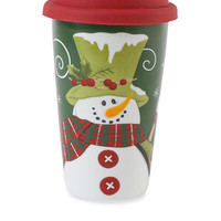 Fitz and Floyd Holly Hat Snowman Travel Mug - Belk.com