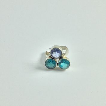 Blue Quartz Silver Ring size 7