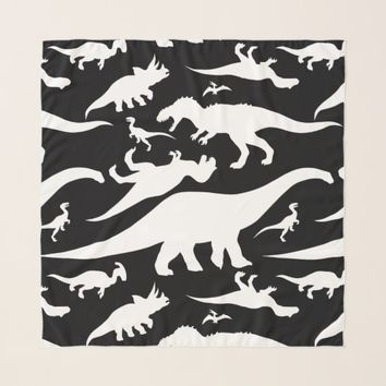 Black and White Dinosaur Pattern Scarf
