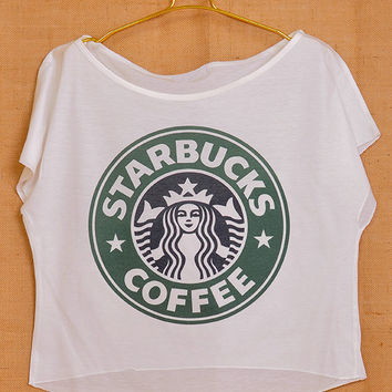 Starbucks Coffee Logo Pop Indie Punk Rock Tattoo Vintage Lady Women T shirt Wide Crop Top Free Size