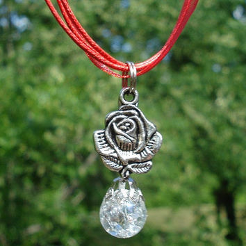 Rose Crystal Fried Marble Red Ribbon Necklace by KatieDidsx3
