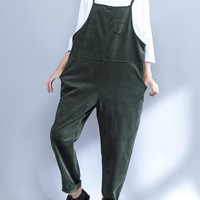 Casual Women Solid Strap Pockets Corduroy Jumpsuits
