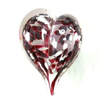 Handmade Art Glass Heart Paperweight, Ruby Red and White, Mother's Day Gift