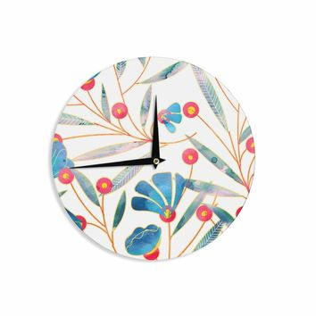 "83 Oranges ""Bluebella"" Blue White Nature Floral Illustration Watercolor Wall Clock"