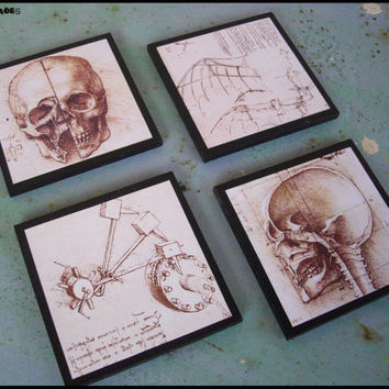Da Vinci's Creed coasters - set of 4 wooden coasters - Steampunk decor, halloween, skull, skulls, Assassin's creed, Italy, anatomy skeleton