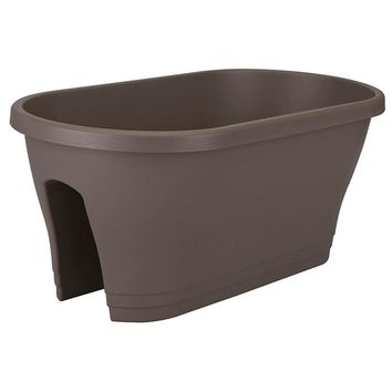 24 in. Oval Taupe Flower Bridge Planter-FB Oval Taupe at The Home Depot