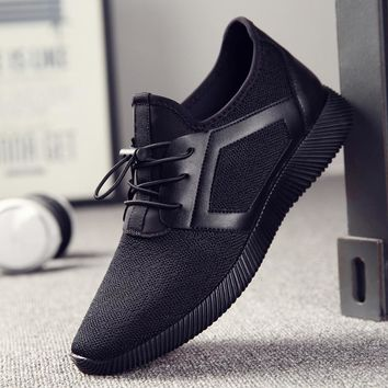 Men Knitting Mesh Breathable Flat Heel Shoes Sport Running Casual High Quality Sneakers Foreign Trade Cross-Border Men's Hot Sel
