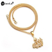 Qiao La Muslim Islamic Gold Allah Pendant Necklace For Men Women Drop Shapped Pendant Prophet Mohammed Jewelry Mother's Day Gift
