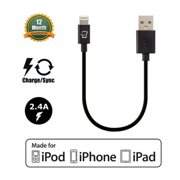 Short Apple Certified Lightning to USB Data Sync and Charge Cable (Black)