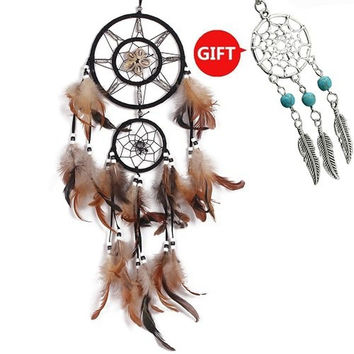 "YYAO Dream Catcher ~ Handmade Traditional Original (shell 6.5"" Diameter 22"" L..."