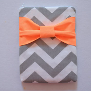 iPad Mini Sleeve iPad Mini Case iPad Mini Cover iPad Mini 7.9 Kindle Nook Grey and White Chevron with Neon Orange Bow