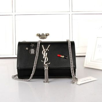 """Yves Saint Laurent YSL"" Personality Fashion Tassel Metal Chain Single Shoulder Messenger Bag Women Flip Small Square Bag"
