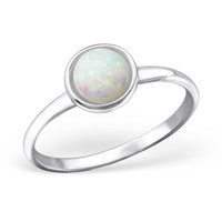 Small Circle Faux Opal Silver Ring