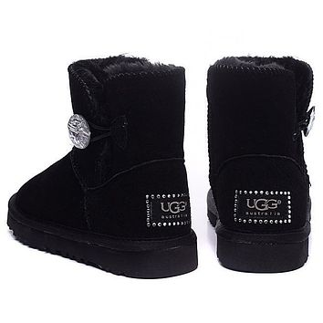 UGG Fashion Women Fur Leather Wool Snow Boots In Tube Boots Shoes