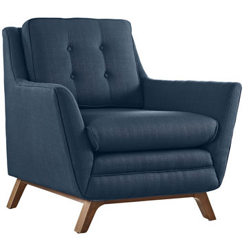 Modway Beguile Fabric Armchair in Tufted Azure W/ Walnut Finished Legs