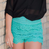 Mint Scalloped Lace Shorts