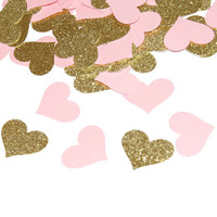 pink and gold hearts confetti, wedding heart confetti, baby shower, bridal shower, girls, children birthday party, table decorations 100 pcs