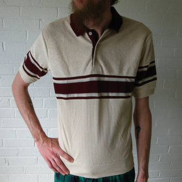 Vintage 1980s Mens Polo shirt Burgundy stripe by JunkStoreAddict