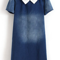 Navy Short Sleeve Pointed Flat Collar Bleached Denim Shift Mini Dress