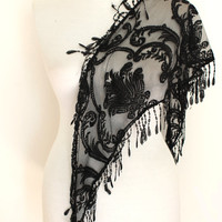 black lace scarf,lace scarf,scarf,gift,boho scarf