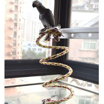160cm Long Parrot Bird Toys Pet Bird Parrot Standing Rope Bird Cage Decoration Climbing Toy Parrot Bird Cage Toys Rope Bell