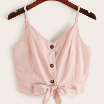 Solid Button Front Knot Hem Cami Top